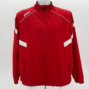 Asics Red & White Windbreaker Track Jacket Men's S